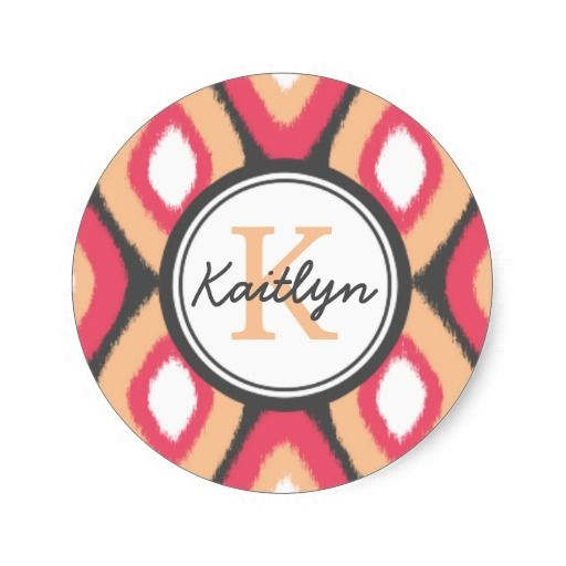 Monogram ikat diamonds pattern pink grey classic round sticker