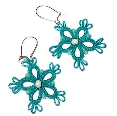 Mekik Oyasından Takı / Tatted Jewellery: ÇİÇEK KÜPELER / FLOWER EARRINGS