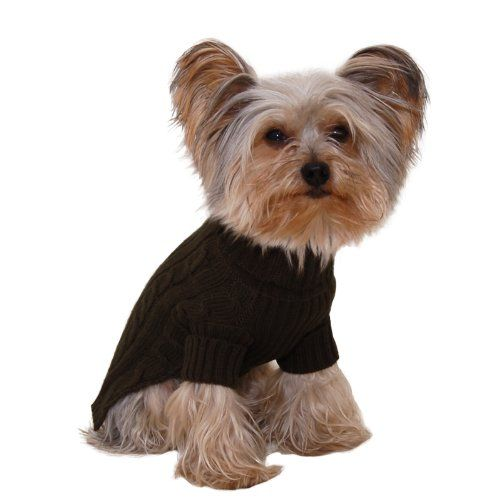 Size #12 (medium) Designer Pet Clothes Olive Green Turtleneck Dog Sweater Classic Aran Knit