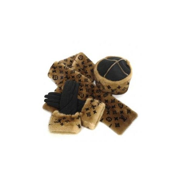 Louis Vuitton Authentic Louis Vuitton 3-pc Mink Fur Lunaraine Hat... (€3.905) ❤ liked on Polyvore featuring accessories, gloves, scarves, louis vuitton, mink glove and louis vuitton gloves
