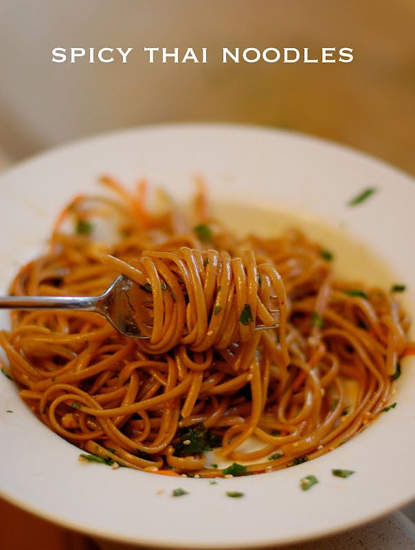 Spicy Thai Noodles: Noodles Recipes, Thai Food, Red Peppers, Asian Inspiration, Sesame Oil, Spicy Thai Noodles, Soy Sauces, Rice Noodles, Peanut Butter