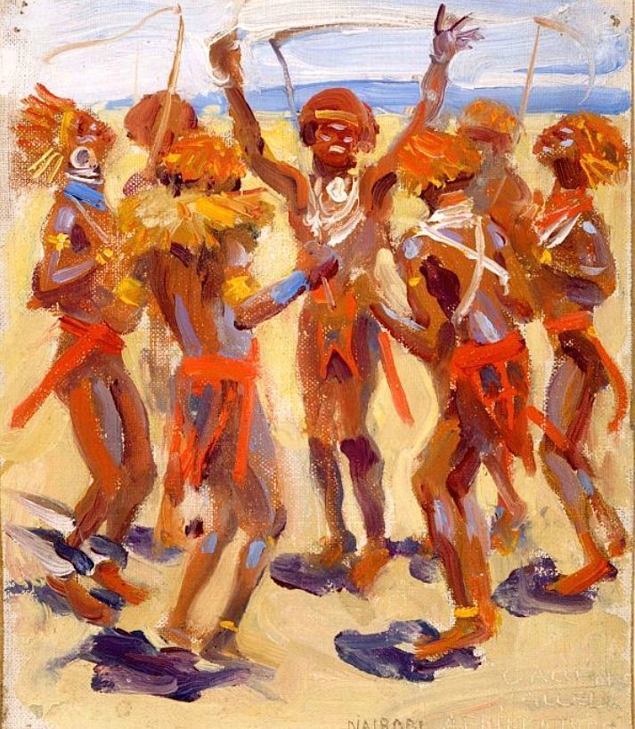 """Dancing Kikuyu Warriors"", Akseli Gallen-Kallela, 1909"