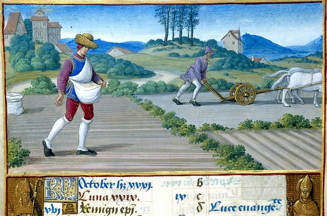Hours of Henry VIII MS H.Illuminated by Jean Poyer- New York Pierpont Morgan Library- October - Sowing and ploughing