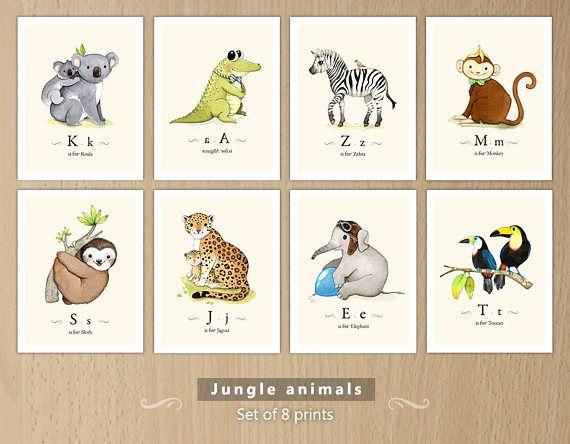 Vivero con tema de selva animales de la selva impresión