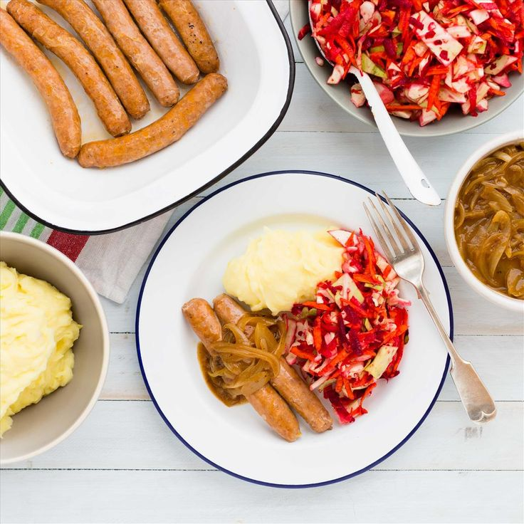 Romanian Pork Sausages with Mash, Onion Gravy and Apple-Beet Slaw