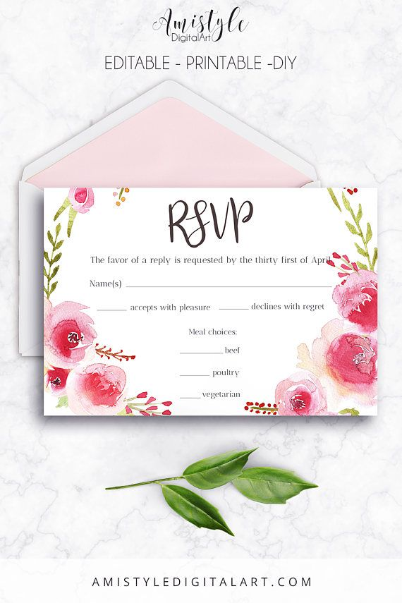 Printable wedding response card - with elegant and romantic watercolor rose wreath by Amistyle Digital Art on Etsy