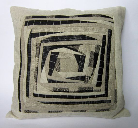 Linen Grey Black Patchwork Pillow Case, Patchwork Pillow Cover, Cushion Cover, 16x16 Inch Pillow Cover
