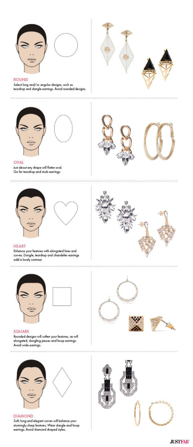 Choose earrings that work best with your face shape. | 41 Insanely Helpful Style Charts Every Woman Needs Right Now