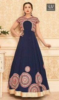 Gauhar Khan Navy Blue Color Georgette Designer Anarkali Suit