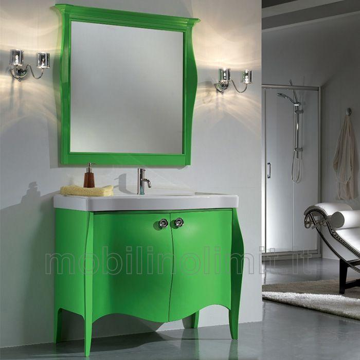 mobile bagno con 2 ante in finitura verde acido e lavabo in ceramica