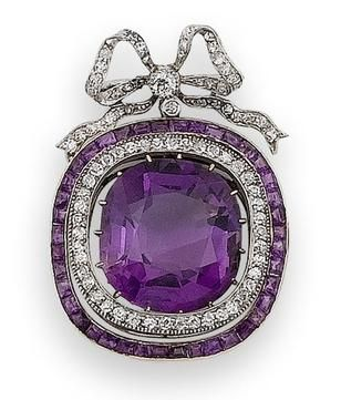 An early 20th century amethyst and diamond brooch The cushion-shaped amethyst drop within an articulated double border of single-cut diamonds and calibré-cut amethysts, suspended from an associated old brilliant and single-cut diamond tied ribbon bow surmount
