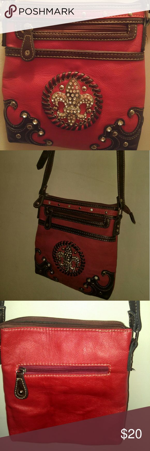 Red bling purse Small red purse with brown accents, cross and bling Bags Crossbody Bags