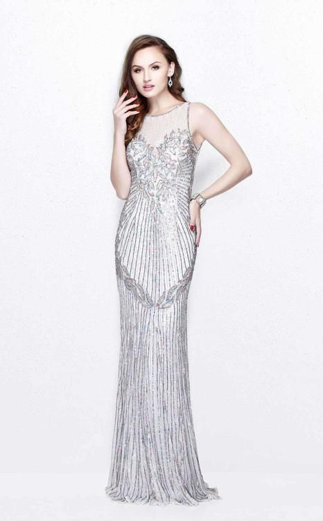 Primavera Couture - Multi-Color Sequined Sleeveless Long Dress 1872| CoutureCandy