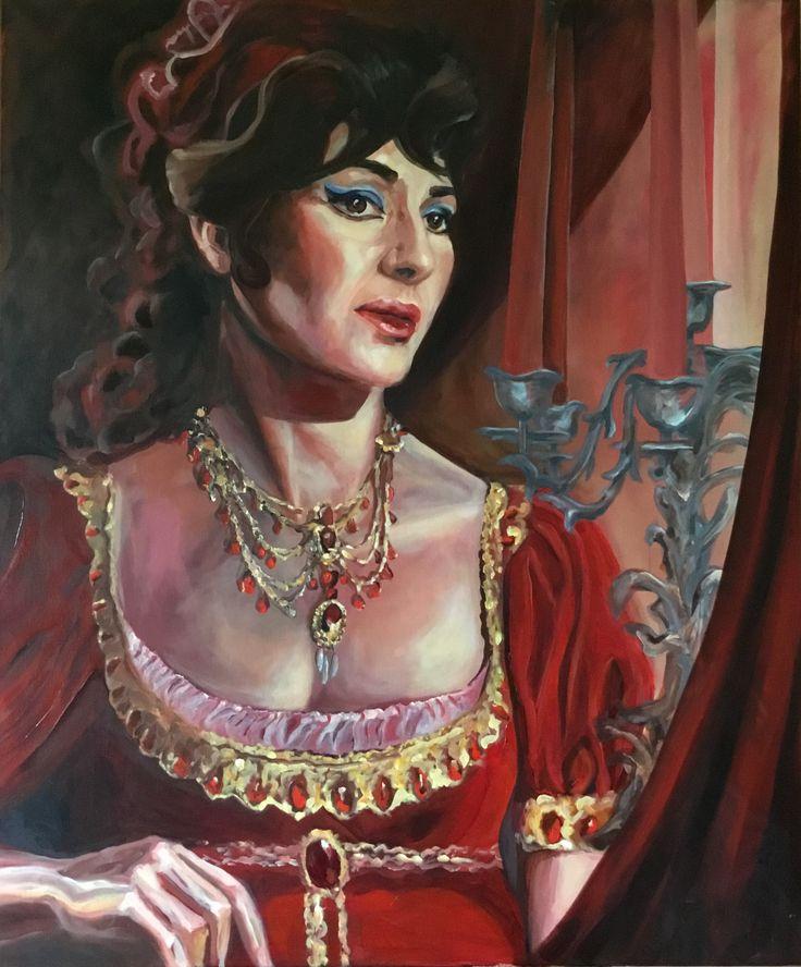 'Vissi d'arte, vissi d'armore...', Maria Callas, painting Esther Eggink, oil on linnen, 1 bij 1.20mtr.