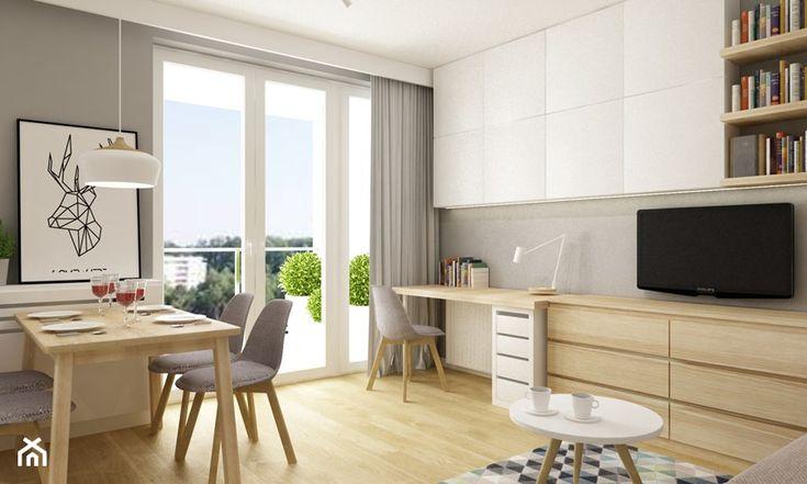 kawalerka 35m2 - Mały salon z jadalnią, styl skandynawski - zdjęcie od Grafika i Projekt architektura wnętrz
