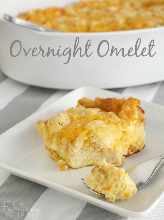 Overnight Omelet Recipe. Fluffy egg breakfast casserole. Hearty make-ahead breakfast recipe, perfect for Christmas morning.