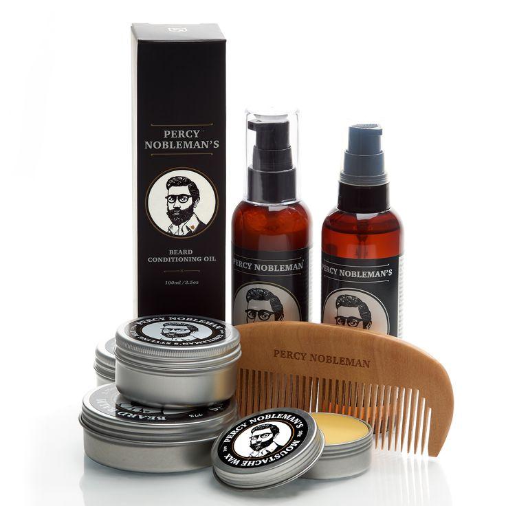 Treat your beard to the whole Percy Nobleman range. www.percynobleman.com. Beard oil, Beard wash, Beard balm, Moustache wax, Beard comb, Styling wax.