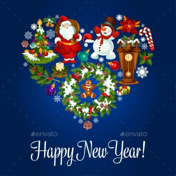 Happy New Year Greeting Poster in Heart Shape