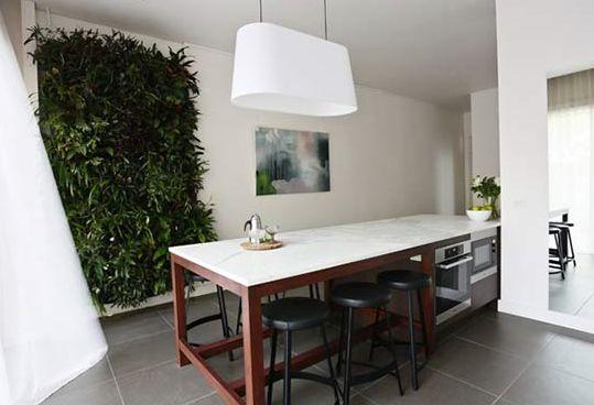 beautiful kitchen bench and vertical garden Vertical-Garden on Weave Decor Design