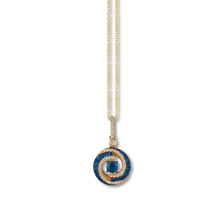 Swirls of Blueberry Sapphires™ and Vanilla Diamonds® encircle a round center Blueberry Sapphire in this stylish necklace  Additional Vanilla  line the bail. Crafted of 14K Honey Gold™.
