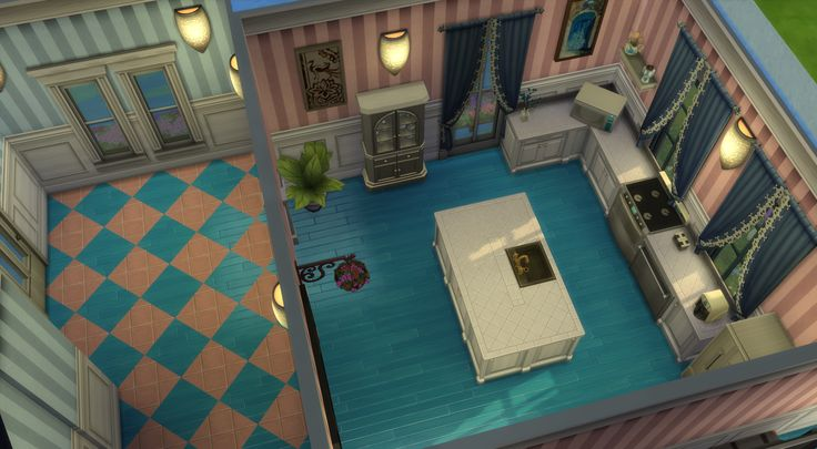 Progress shot of Cottage Candy. Kitchen and hallway, I actually love the color scheme :D