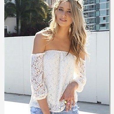 blusa sin hombros blanca