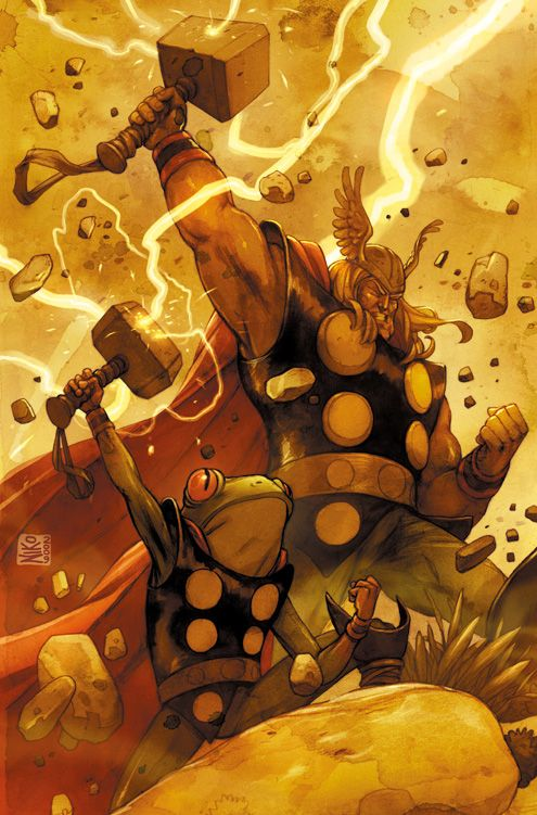 Awesome Marvel Superhero Art From Niko Henrichon Thor And Throg The Frog Of Thunder