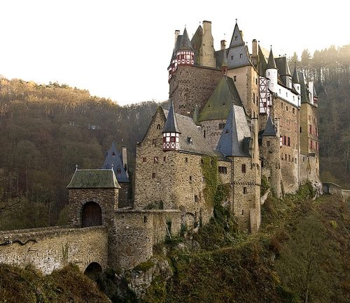 Eltz Castle, above the Moselle River in Germany, construction started in the 1150s.