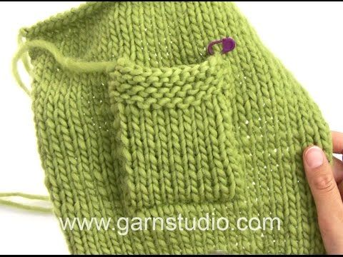 DROPS Knitting Tutorial: How to sew on a pocket - YouTube