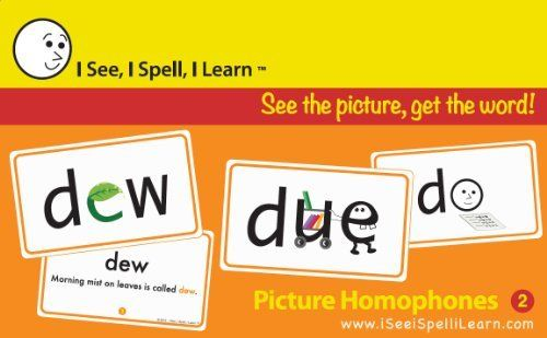 I See, I Spell, I Learn - Picture Homophones Flashcards Set 2 by I See, I Spell, I LearnTM. Save 12 Off!. $22.99. A top resource for all English language learners of any age including non-English speakers learning English as a second language.. Excellent resource for schools, tutoring & learning centers, daycare centers for children entering or in kindergarten, easy for parents to use at home, great for homeschoolers.. Emerging readers (Ages 3 and above) love these picture car...