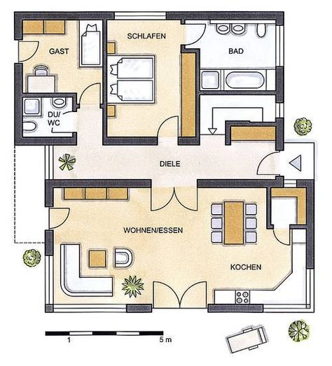 Grundriss Pultdach … Grundriss bungalow, Haus grundriss