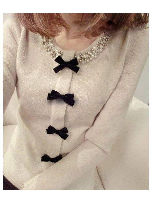 Cream Multi Bowknot Long Sleeve Top #Top