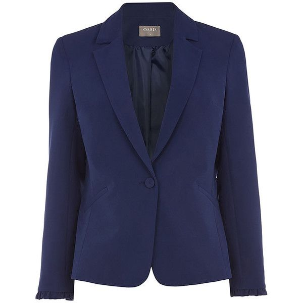 FRILL DETAIL SMART JACKET ($5.09) ❤ liked on Polyvore featuring outerwear, jackets, blue jackets, blazer jacket, tailored blazer, blue blazer jacket and ruffle blazer jacket