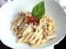 Penne Pasta With Smoked Mushrooms and Bacon - from Ray's on the River in Atlanta