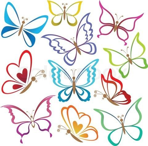 Stock vector of 'Set abstract butterflies, coloured contour silhouettes on white background Vector'