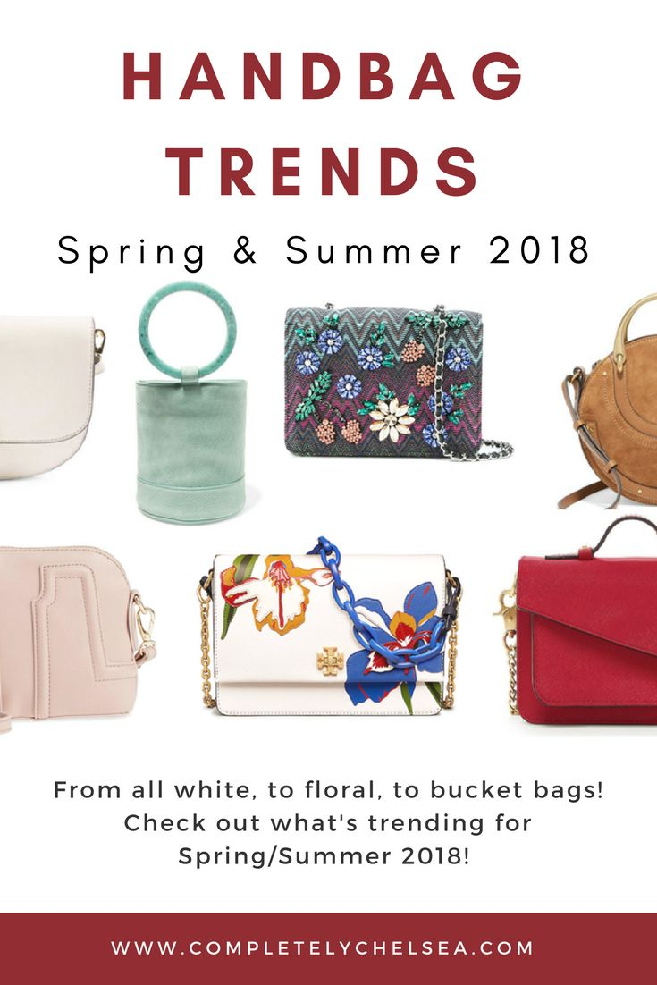 Take a look at the cutest handbag trends for Spring & Summer, 2018! Blog post from www.completelychelsea.com #handbags #springhandbag #springbags #springbagtrends #pursetrends #handbagtrends #bagtrends #handbags2018 #spring2018 #summer2018 #summerbags #springstyle