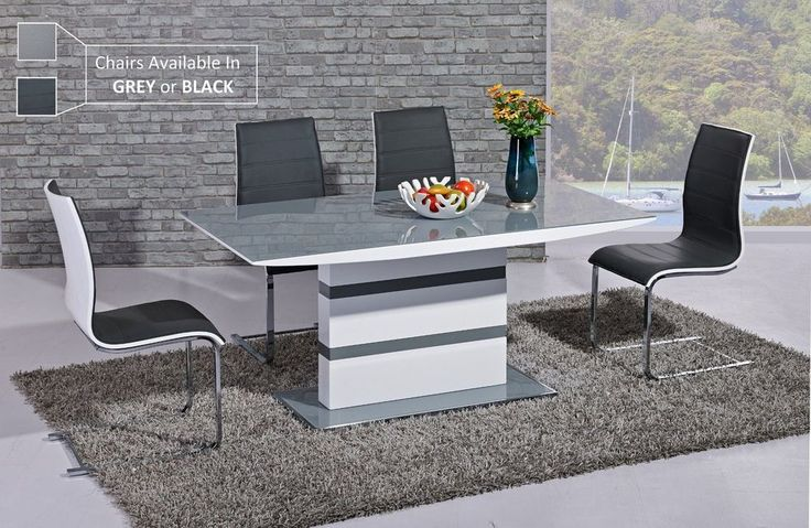 New Stunning Italia White High Gloss Grey Glass 160cm Dining Table + Chairs