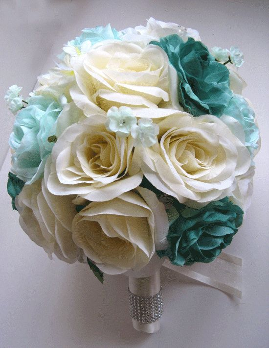 Free Shipping Wedding Bouquet Bridal Silk flower Decoration 17 pieces Package TEAL MINT CREAM centerpieces Roses&Dreams