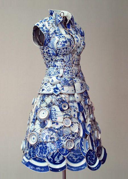 Blue & White Ceramic dress by Li Xiaofeng