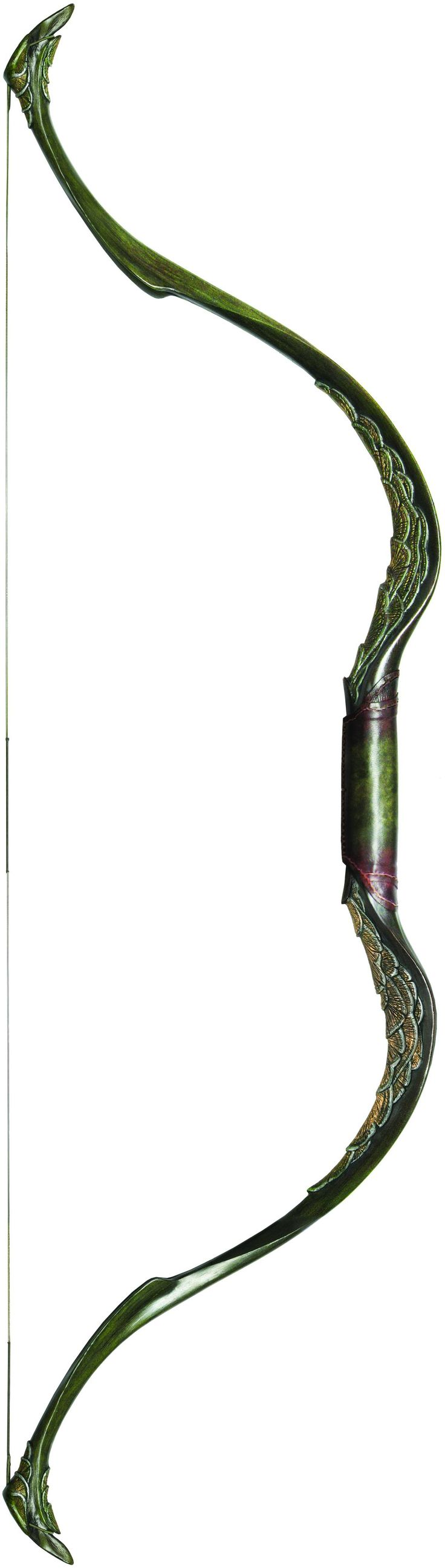 This bow is long and recurves back towards the archer. It's made of a special material that is super light and strong, it has leaf engravings on it and looks like it came right out of a fantasy story.