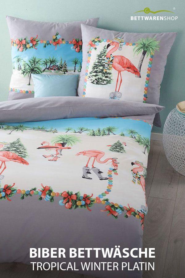 Kaeppel Biber Bettwasche Tropical Winter Platin Biber Bettwasche