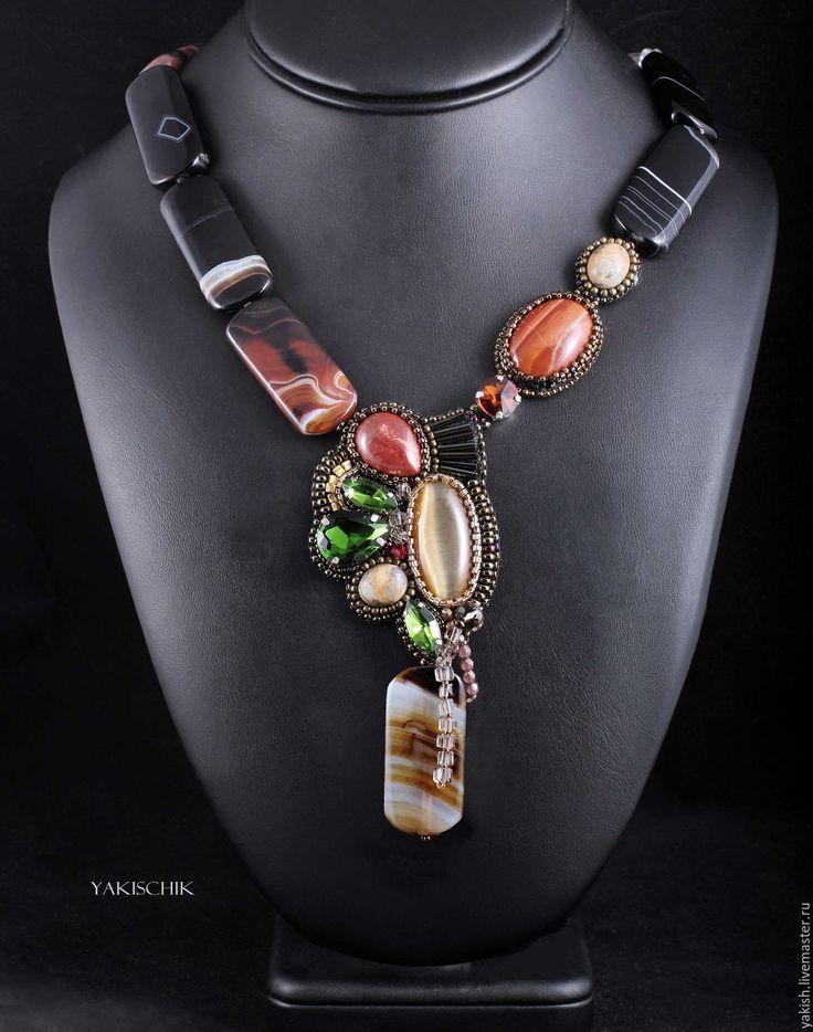 """Купить Колье """"Теплый Вечер"""" - коричневый, колье повседневное, к платью блузке, Ожерелье с камнями"""