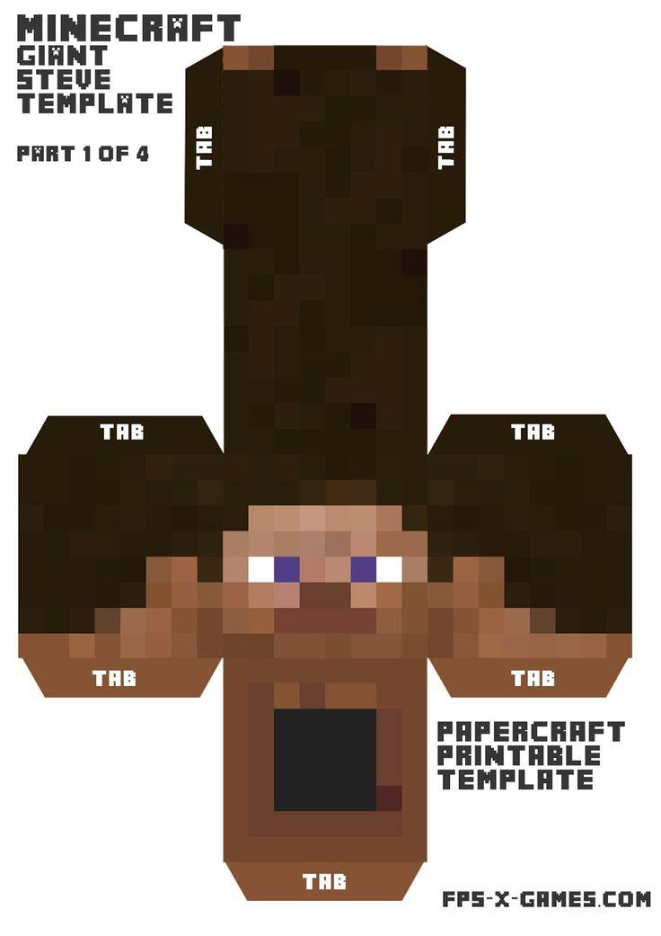 Giant Minecraft Steve printable papercraft character ~ FPSXGames