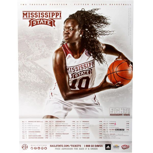 No. 10 Mississippi State Bulldogs 2014 Women's Basketball Schedule Poster - $.99