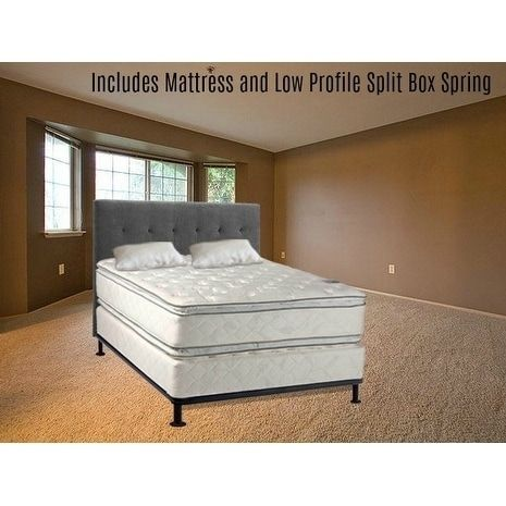 Continental Sleep, Medium Plush Pillowtop Orthopedic type Doublesided Mattress and 5-inch Split Box Spring with Frame (beige/