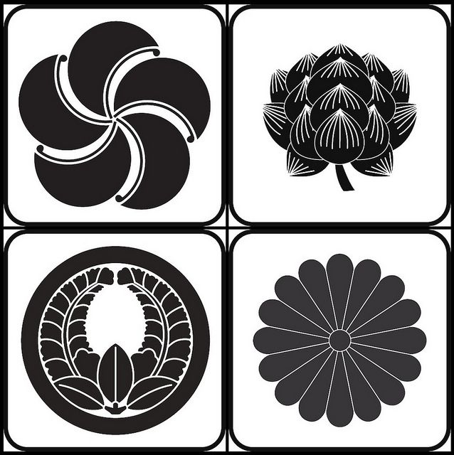 [flower crest] Morning glory, goldthread, wisteria, chrysanthemum.  Kamon are Japanese emblems or crests, corresponding to the European heraldy tradition, and are used to specifically represent and identify a family.