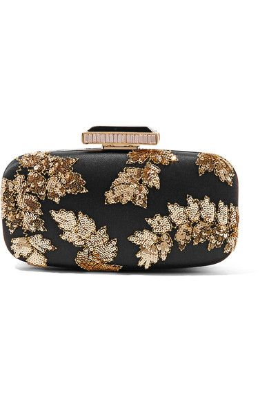 Featured as one of PORTER Editor Lucy Yeomans' top picks this season, Oscar de la Renta's 'Goa' clutch is intricately embellished with gold beads and sequins that form a floral motif. This lustrous black satin accessory is inspired by 18th century opulence - finished with a crystal-trimmed clasp and detachable chain shoulder strap. Style this evening accessory with similarly decadent pieces.x