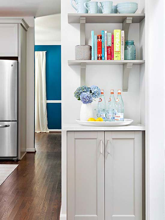 gray bracketed open shelving coordinates with lower cabinet hue