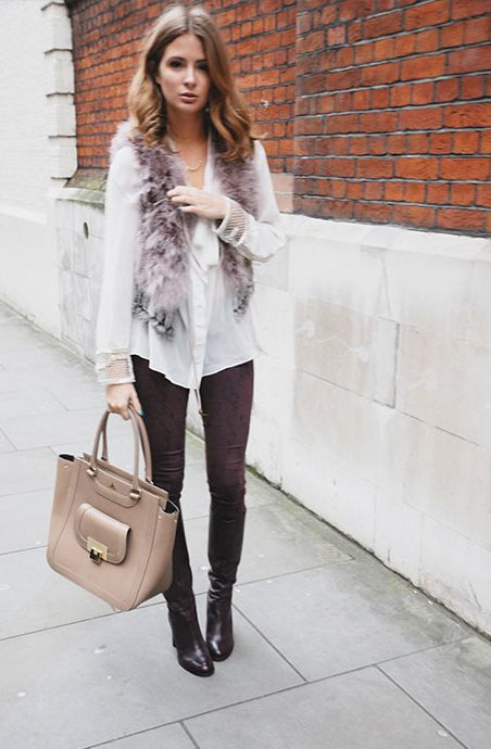 Millie Mackintosh wearing Goldsign Jeans, Prodiga Blouse, Vanilla Fur Gillet, Dune Boots and Asos Necklace