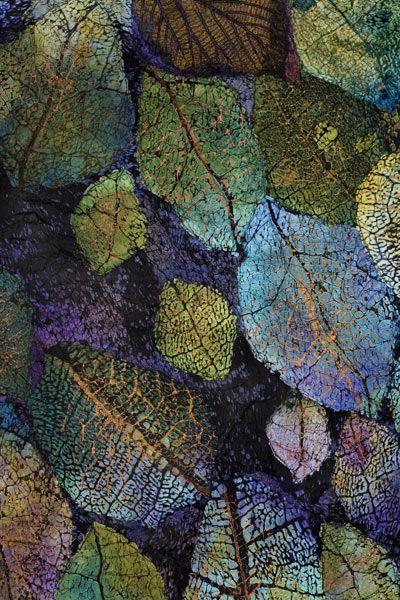 "Leslie Richmond, textile artist. Leaf Cloth Series: Detail from ""Leaf Cloth1."""